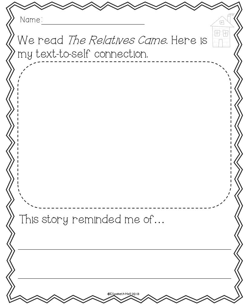 The Relatives Came Freebie – Text to Text Connections Worksheet
